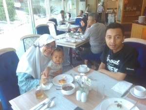 First family breakfast in hotel